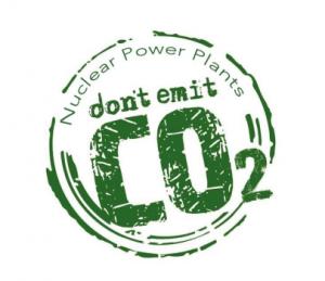 Logo de las Centrales Nucleares no emiten CO2 inglés